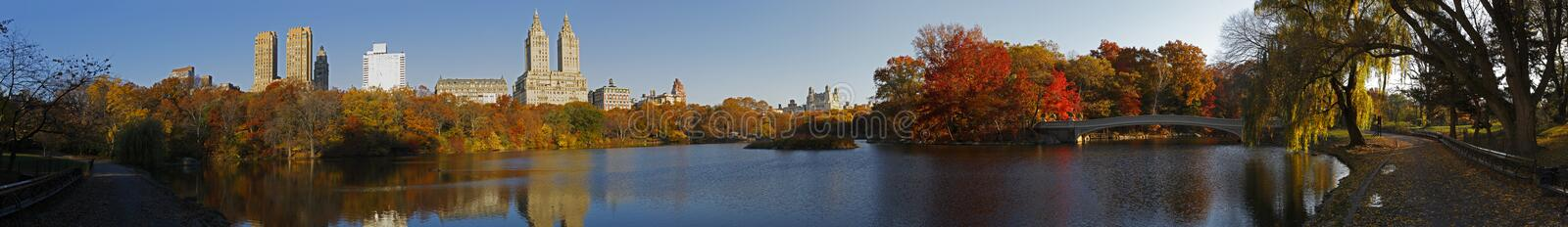 Download Central Park Panorama With Bow Bridge Stock Photo - Image: 7427898