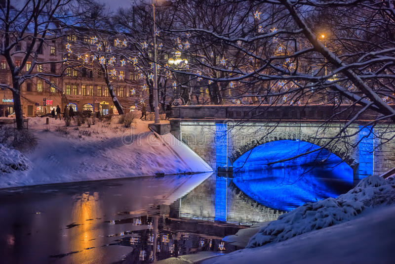 Central park in Riga decorated for Christmas and New Year celebration stock photos