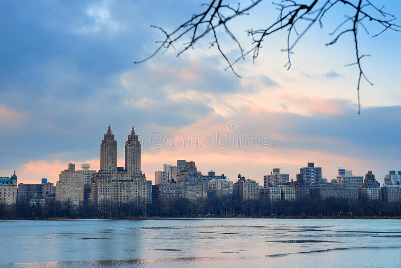 Central Park Skyline over lake, New York City stock images