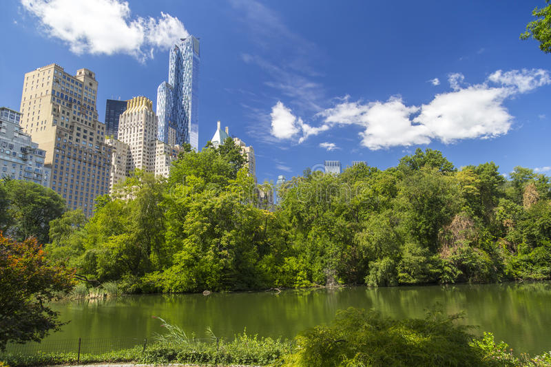 Central Park South skyline from Central Park Lake in New York City stock photo