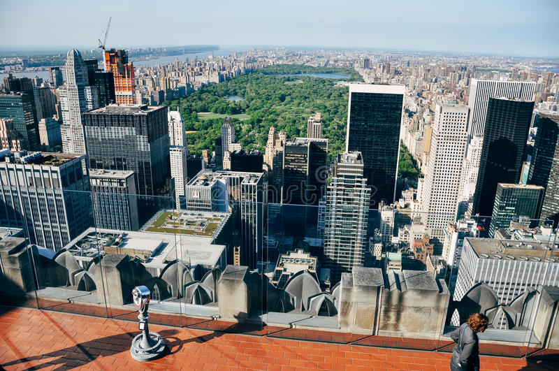 Central Park viewed from top of the Rockefeller building. stock image