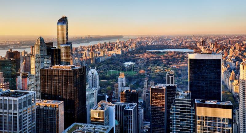 Central Park w Nowy Jork przy zmierzchem obrazy stock