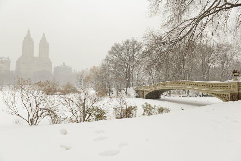 Central Park y puente en la nieve, Nueva York del arco imágenes de archivo libres de regalías