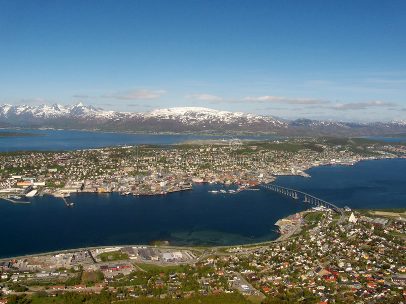 The central part of Tromsoe. 's island, northern Norway, above the arctic circle stock image