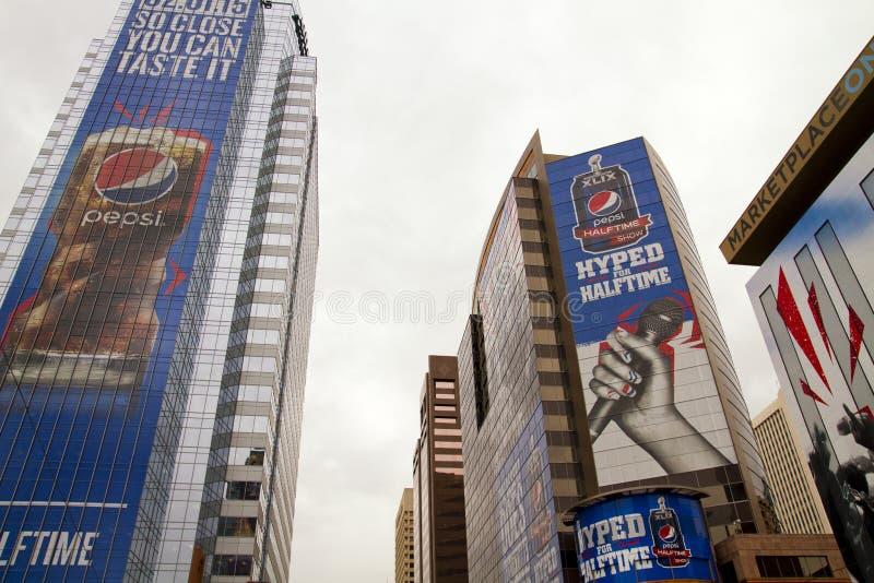 Central Phoenix för fan för Verizon Super Bowl XLIX royaltyfri foto