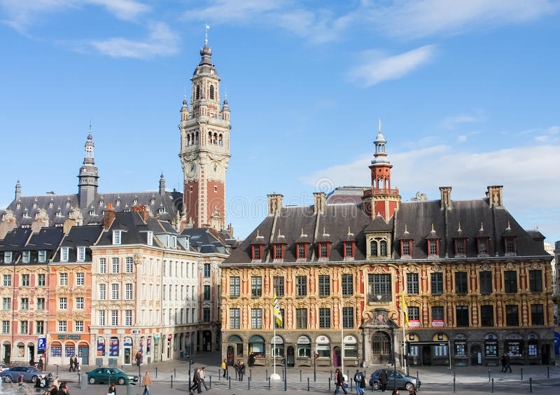 Central Place General de Gaulle in Lille, France. LILLE, FRANCE - NOVEMBER 2, 2009: Chambre of Commerce and historical houses at the Place General de Gaulle in royalty free stock images