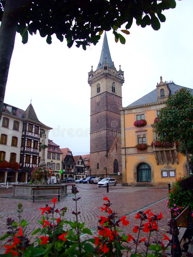 Central place of Obernai town - Alsace stock photo