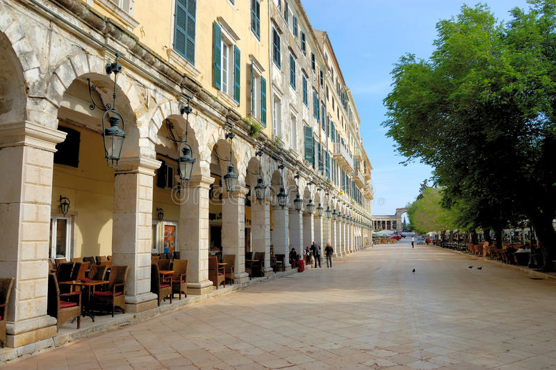 Central plaza of corfu, greece. View of old city of corfu, central plaza, famous arcades of the main plaza, greece stock images