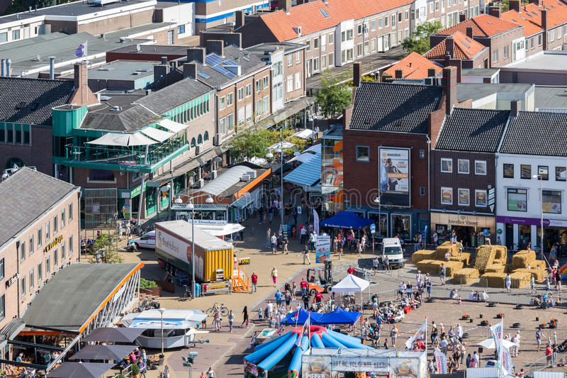 Central plaza Emmeloord with agricultural potato festival, The Netherlands. EMMELOORD, THE NETHERLANDS - SEP 10: Aerial view central plaza with stands of a local royalty free stock photo