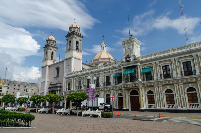 Central plaza i Colima, Mexico arkivfoto