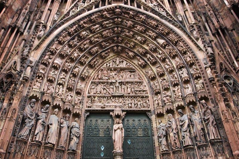 central portal strasbourg för domkyrka royaltyfri fotografi