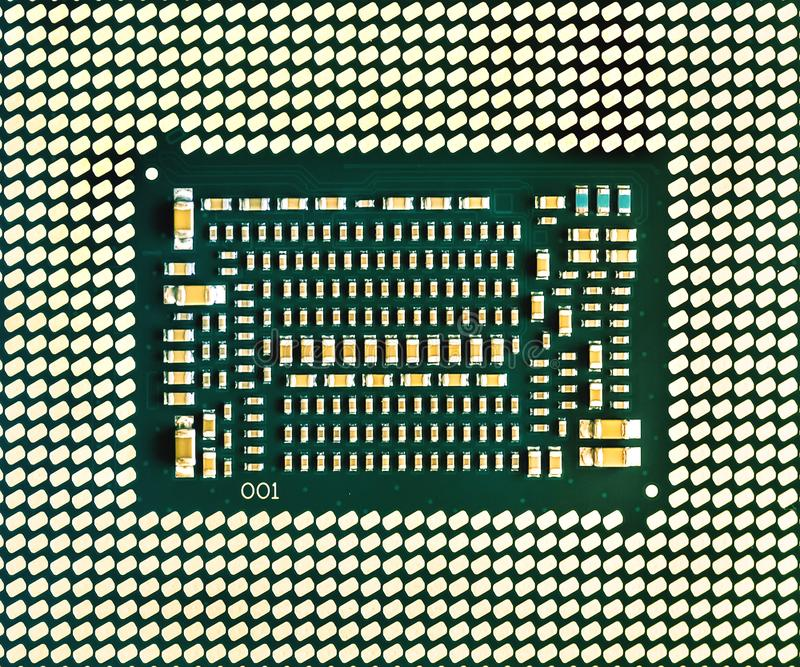 Central processing unit chip. Background of CPU. Central processing unit, chip CPU x64 many-core processor with hyper-threading, bottom part CPU royalty free stock image