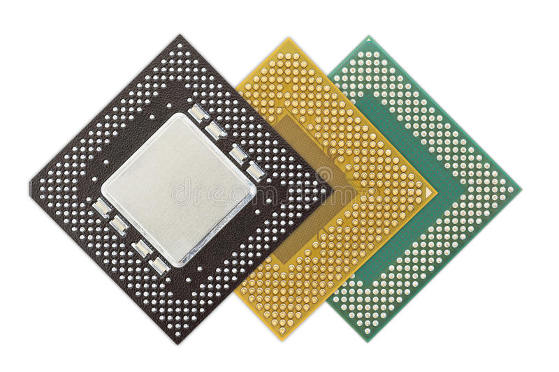 Central processing unit or Computer chip. Computer processors or Central processing unit CPU isolated on white background royalty free stock photo