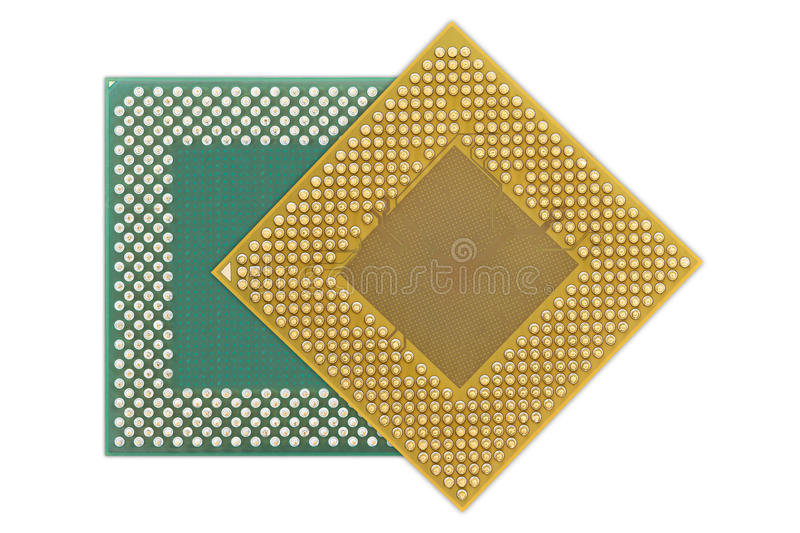 Central processing unit or Computer chip. Computer processors or Central processing unit CPU isolated on white background stock photo