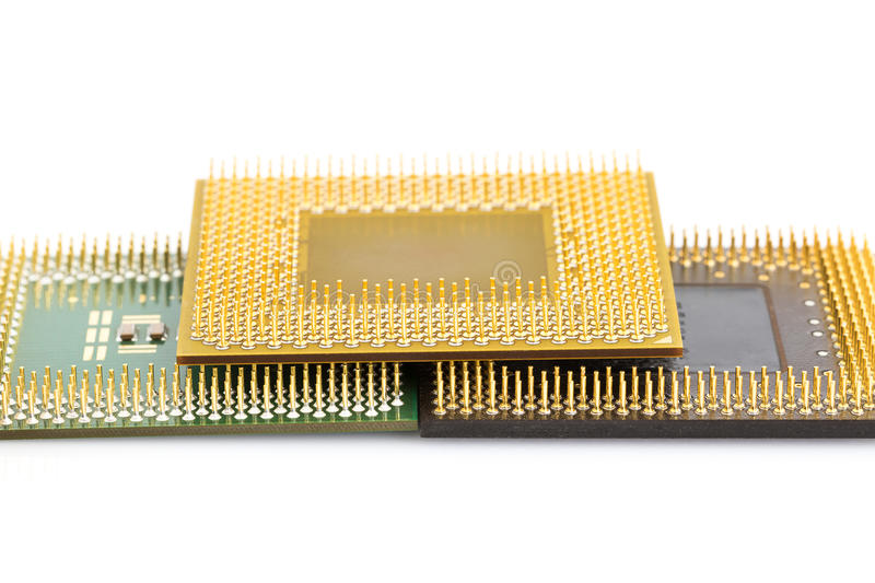 Central processing unit or Computer chip. Computer processors or Central processing unit CPU isolated on white background stock image