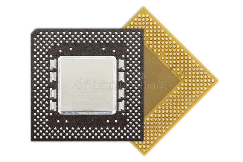 Central processing unit or Computer chip. Computer processors or Central processing unit CPU isolated on white background stock images