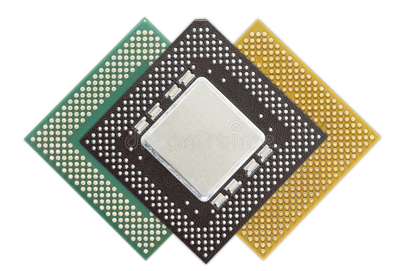 Central processing unit or Computer chip. Computer processors or Central processing unit CPU isolated on white background royalty free stock photos