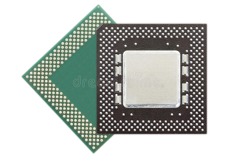 Central processing unit or Computer chip. Computer processors or Central processing unit CPU isolated on white background royalty free stock image