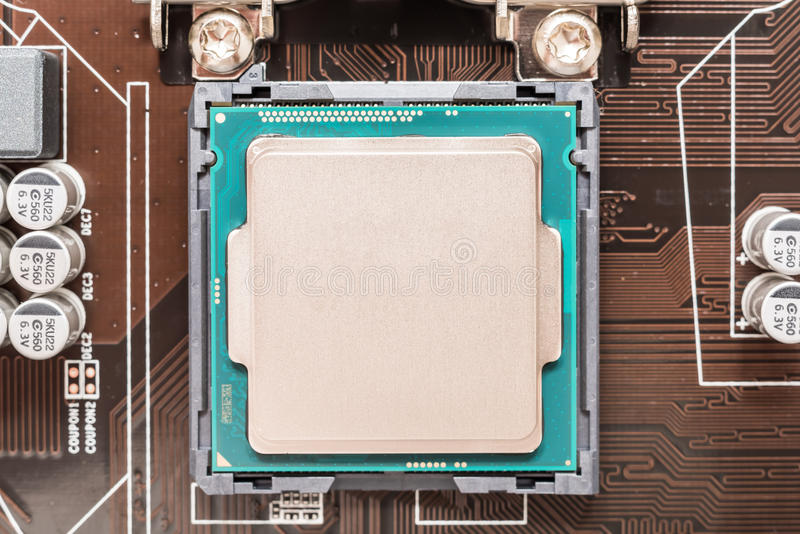 Central Processing Unit (CPU) Chip. Installed On Motherboard Socket stock photo