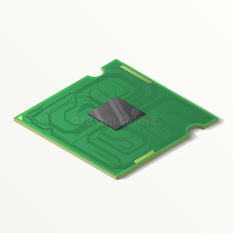 Central processing unit Isolatet on white background. vector illustration