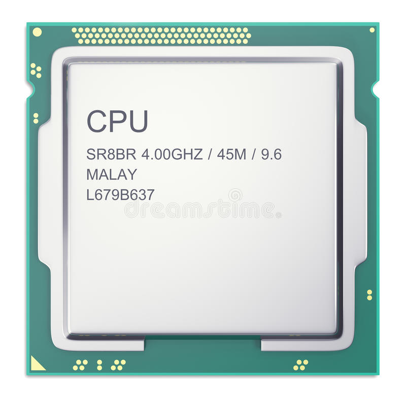 Central processor unit CPU top view isolated on whitebackground. 3d illustration. Central processor unit CPU top view isolated on white. 3d illustration royalty free illustration