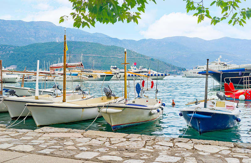 The central promenade of Budva. The resort offers many attractions, the trips along the coast, fishing and visitings the islands on the small boats and yachts royalty free stock image