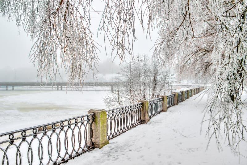 Central promenade city Vyborg Russia. Winter stock photos