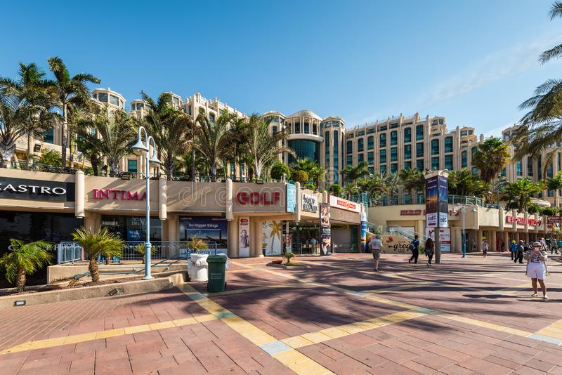 Central promenade recreational area in Eilat, Israel. Eilat, Israel- November 7, 2017: Central promenade with shops, hotels and restaurant in Eilat - famous stock images