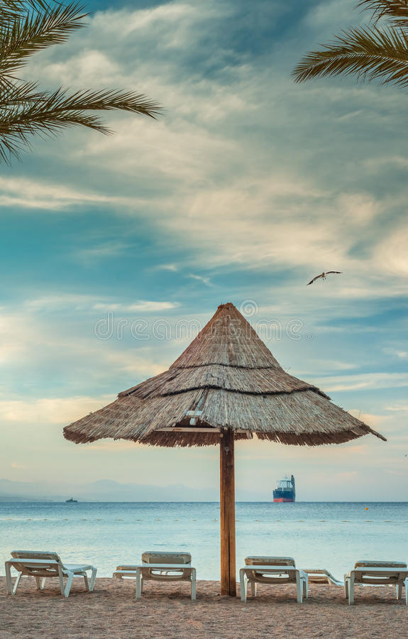 Central public beach in Eilat, Israel. Eilat is a famous resort and recreational city in Israel stock images