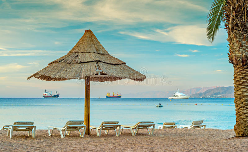 Central public beach in Eilat, Israel. Eilat is a famous resort and recreational city in Israel royalty free stock photography