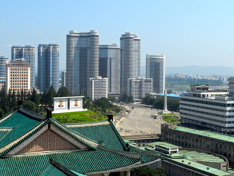 Central Pyongyang. Pyongyang centre seen from Kim Il Sung university stock photo