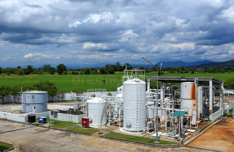 Central química do nitrogênio para a fábrica fotografia de stock royalty free