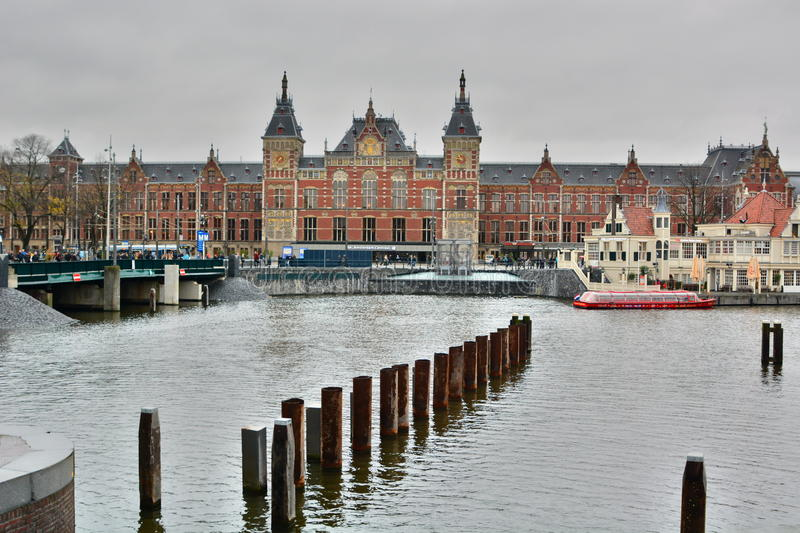 Central railway station. Amsterdam. Netherlands. Amsterdam is the capital city and most populous city of the Kingdom of the Netherlands stock photo