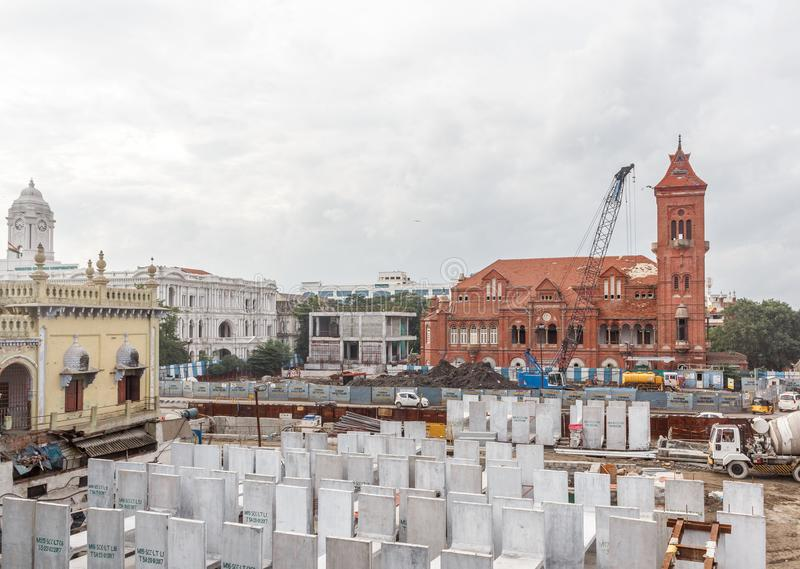 Central railway station,Chennai,India,August 25 2017: Wide view of metro train work area under construction seen with huge machine. Central railway station stock image