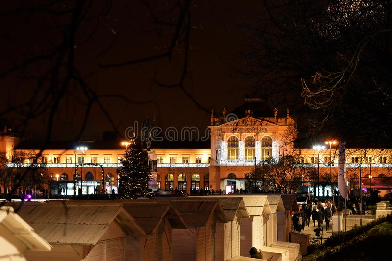 Central railway station at Christmas time, Zagreb, Croatia stock photos