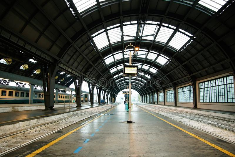 Central railway station of Milan. A part of a platform of station Milano centrale royalty free stock photography