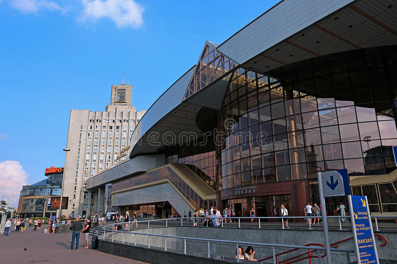 The central railway station in Minsk, Belarus. MINSK, BELARUS - JULY 15, 2014: The central railway station royalty free stock image