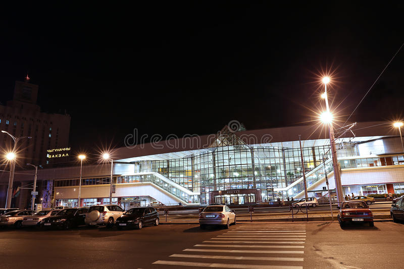 The central railway station in Minsk, Belarus at night. MINSK, BELARUS - JULY 18, 2014: The central railway station at night royalty free stock photography