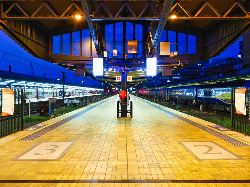 Central Railway Station Platforms at Daybreak, Sydney, Australia royalty free stock images