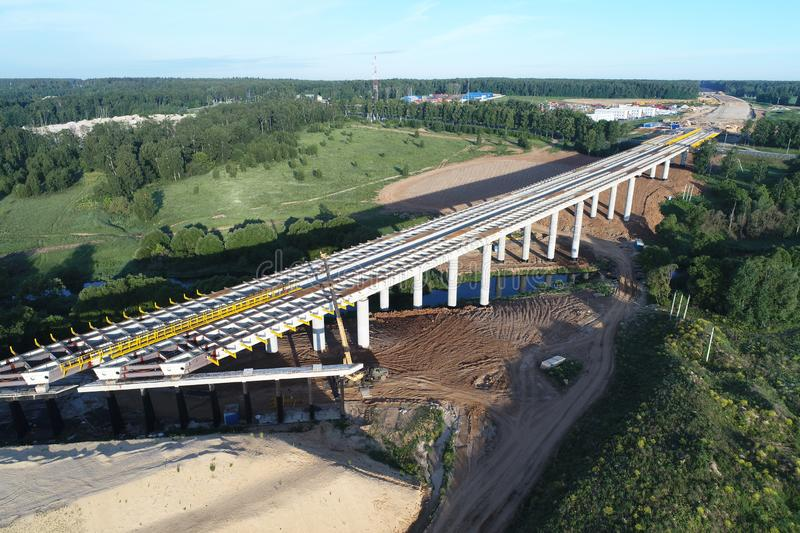 Central Ring Road (A-113), Construction of the New Bridge over Mocha river. Central Ring Road, Construction of the New Bridge over Mocha river, Moscow Oblast stock photo