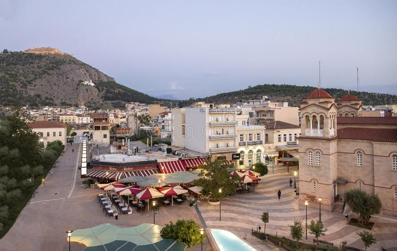 Central square in Argos, Greece . View of the Square of Saint Andrew Agios Andreas, the main square of Argos city, Peloponnese,. Greece royalty free stock image
