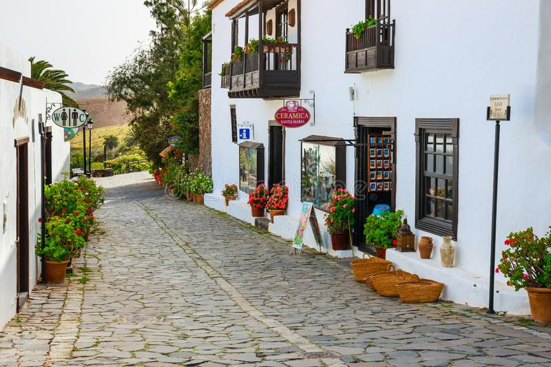 Central square in Betancuria village on Fuerteventura Island, Spain royalty free stock photos