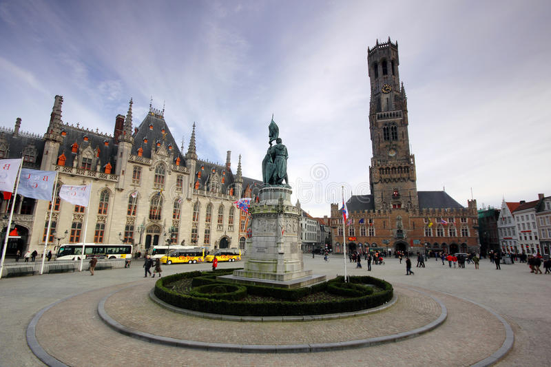 Central square in Bruges (Brugge), Belgium. Central square in Bruges (Brugge) - with the city hall and the belfry landmarks, Belgium royalty free stock photo