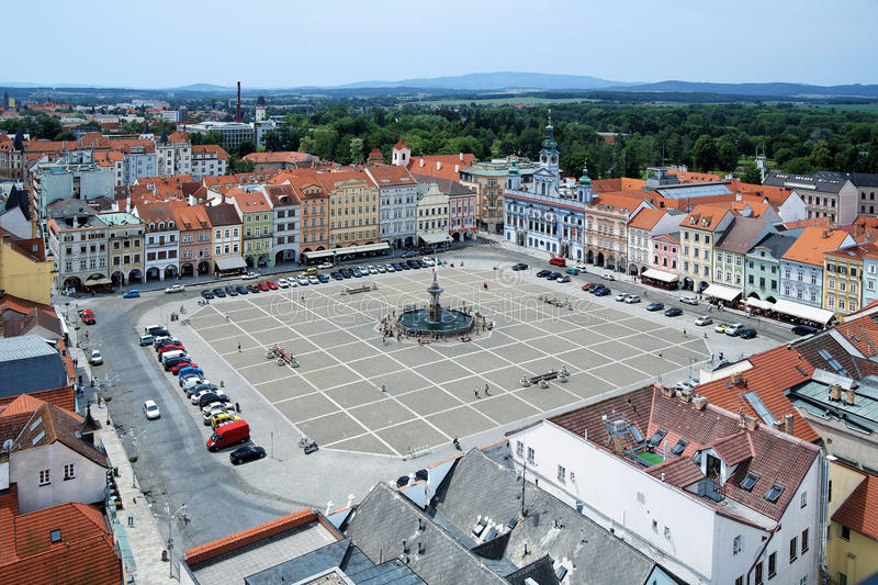 Central square of Ceske Budejovice, Czech Republic. Central square of Ceske Budejovice with fountain Samson, Czech Republic royalty free stock images