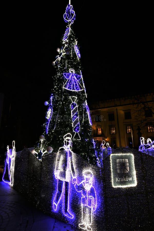 Krakow. Christmas composition. Card. The central square in Christmas. Poland. Krakow. Card. Post card. Island royalty free stock photos