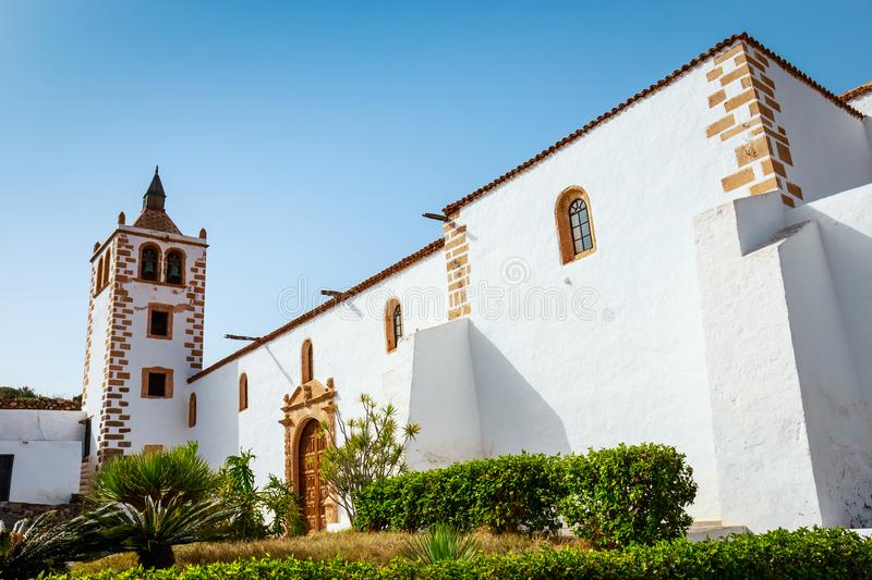 Central square with church in Betancuria, Fuerteventura Island, Spain stock image