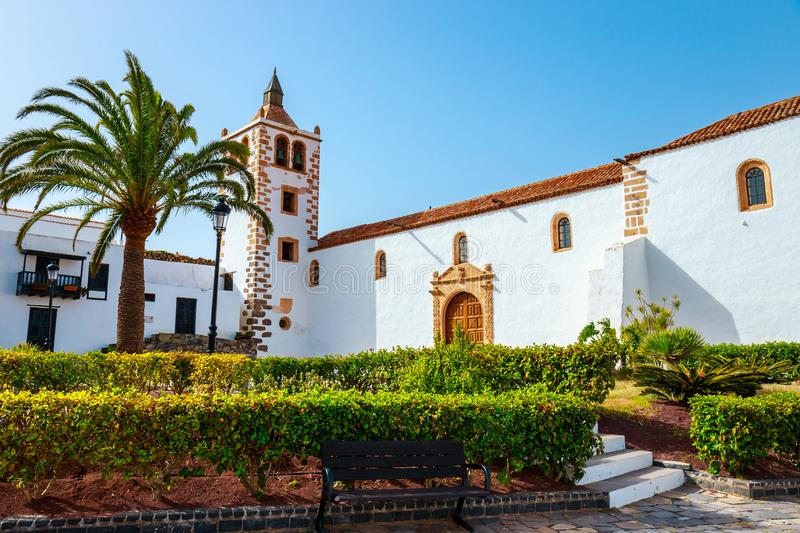 Central square with church in Betancuria, Fuerteventura royalty free stock image