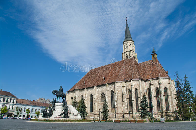 Central square, Cluj Napoca, Romania. Central square with Saint Michael's Church in Cluj Napoca, Romania royalty free stock photo