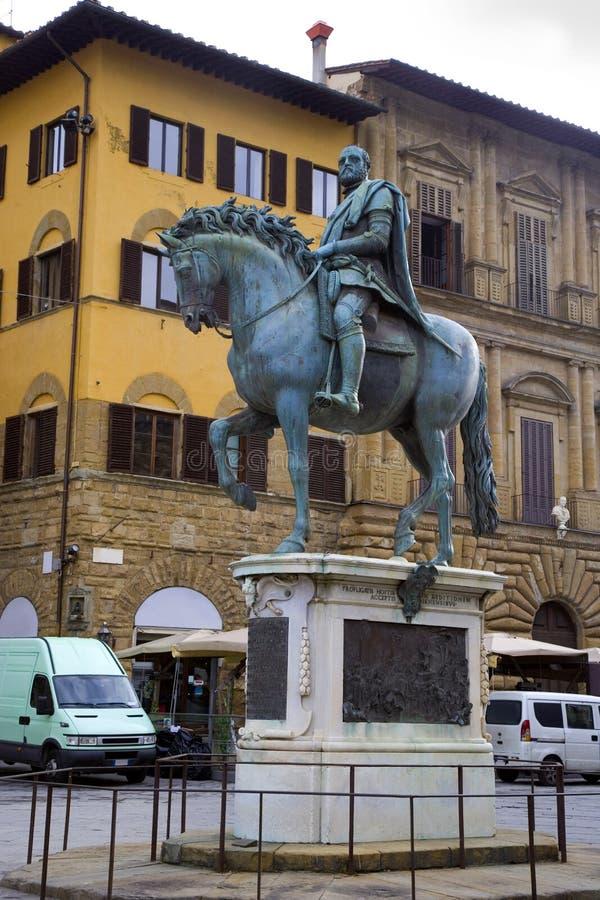 Florence Italy statue of the Duke Cosimo de ` Medici Piazza della Signoria history. In the Central square of Florence Signoria is a monument to the Duke Cosimo royalty free stock image