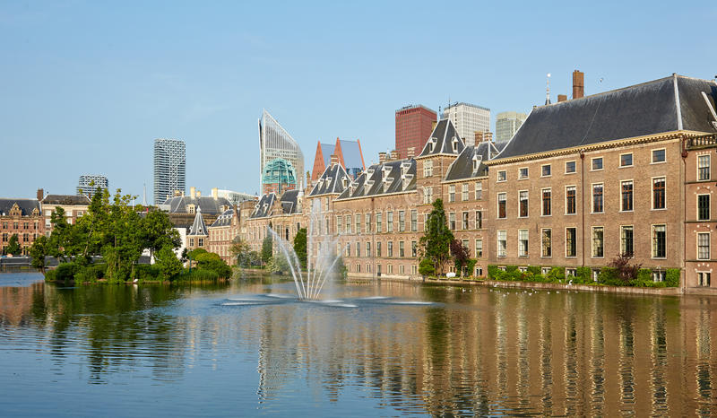 The central square with a fountain in Den Haag. Netherlands royalty free stock photos